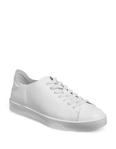 Calvin Klein Womens Irena Leather Sneakers-WHITE-11