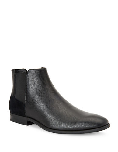 Calvin Klein Larry Tumbled Leather Chelsea Boots-BLACK-8.5