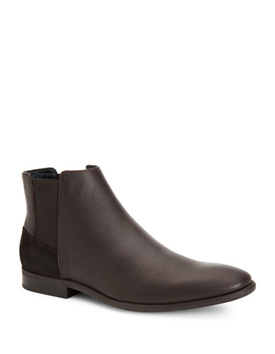 Calvin Klein Larry Tumbled Leather Chelsea Boots-DARK BROWN-11.5
