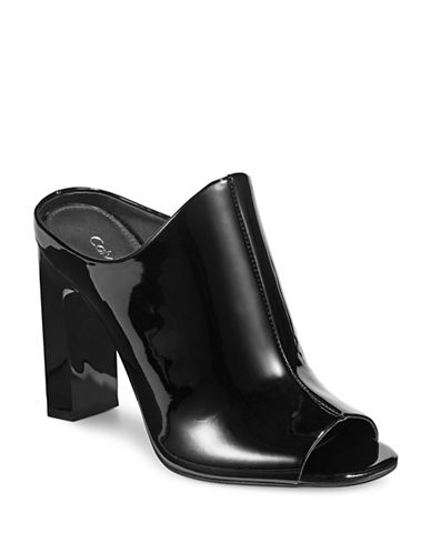 Calvin Klein Maera Patent Dress Mules-BLACK-9