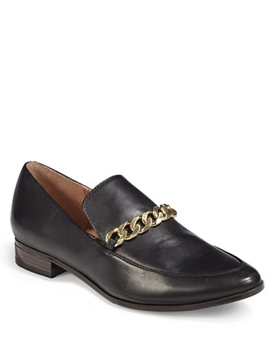 Calvin Klein Leather Chain Top Loafers-BLACK-5.5