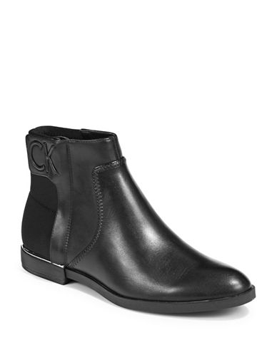 Calvin Klein Embossed Logo Detail Booties-BLACK-7