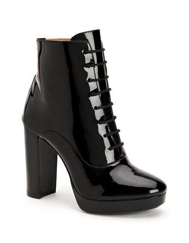 Calvin Klein Melinda Patent Leather Booties-BLACK-9