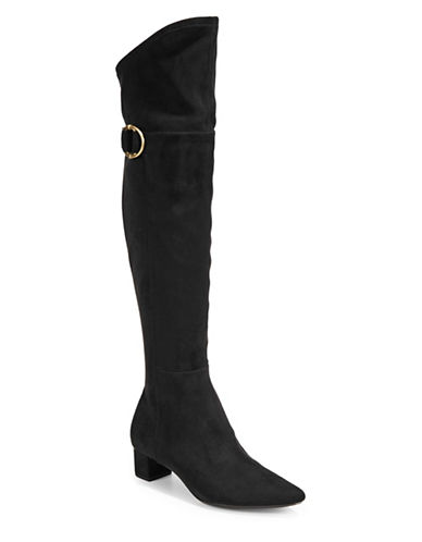 Calvin Klein Georgeanna Buckle Knee-High Boots-BLACK-8.5
