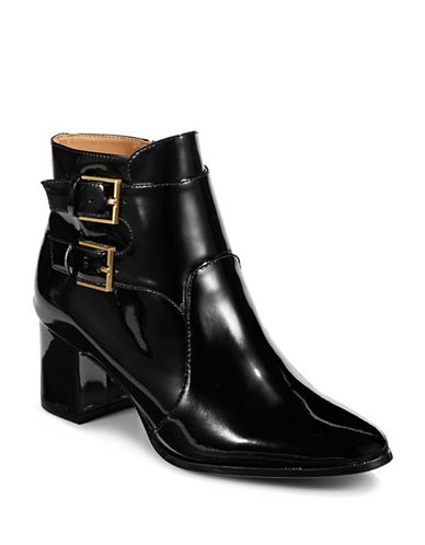 Calvin Klein Florine Block Heel Leather Booties-BLACK-6