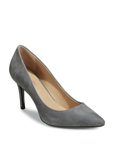 Calvin Klein Pointed Leather Pumps-GREY-9