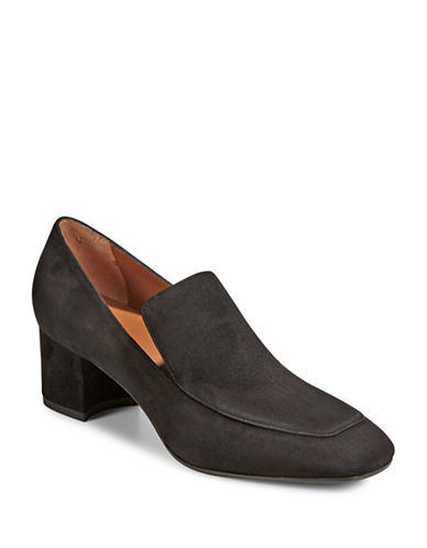 Aquatalia Block Heel Loafers-BLACK-EUR 36/US 6