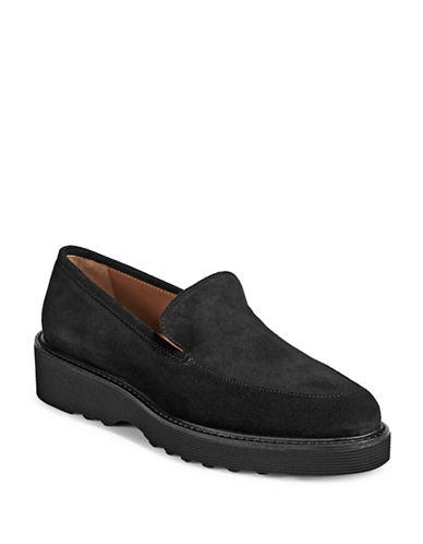 Aquatalia Ladies Suede Loafers-BLACK-EUR 40/US 10