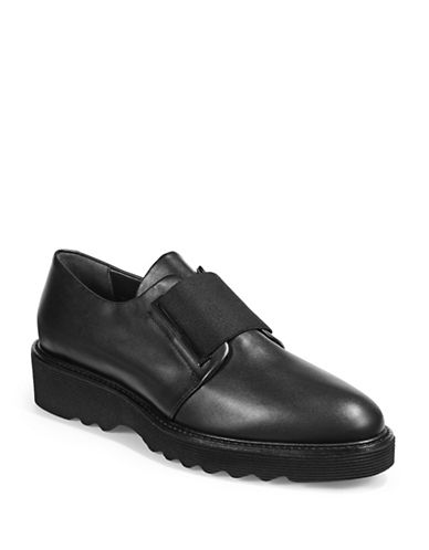 Aquatalia Womens Kenley Elastic-Strap Leather Shoes-BLACK-EUR 39/US 9