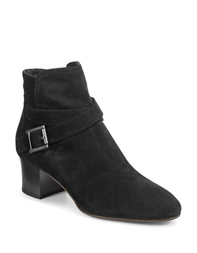Aquatalia Francique Buckle Ankle Boots-BLACK-EUR 38/US 8