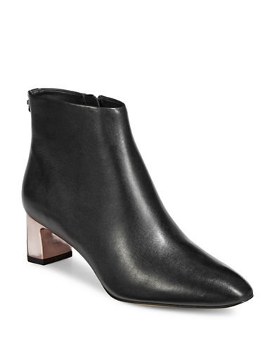 Calvin Klein Mimette Leather Ankle Boots-BLACK-10