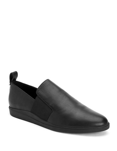 Calvin Klein Shannin Slip-On Leather Loafers-BLACK-8.5