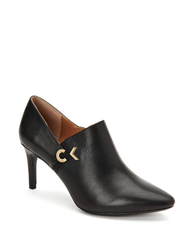Calvin Klein Joanie Leather Shooties-BLACK-8.5