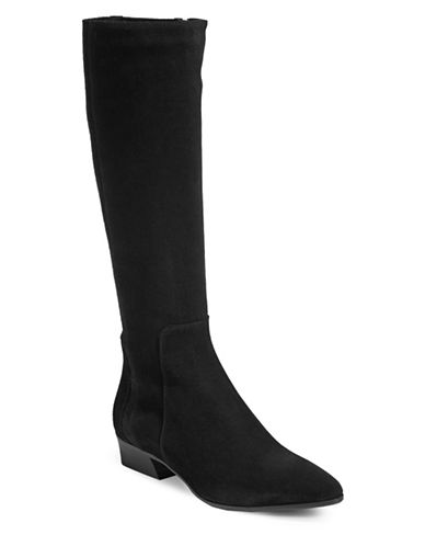 Aquatalia Mid-Calf Leather Boots-BLACK-6.5
