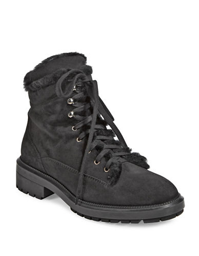 Aquatalia Lenore Stacked Heel Leather Hiking Boots-BLACK-7.5