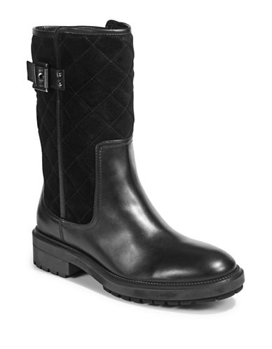 Aquatalia Layla Leather and Suede Mid-Calf Boots-BLACK-EUR 39/US 9
