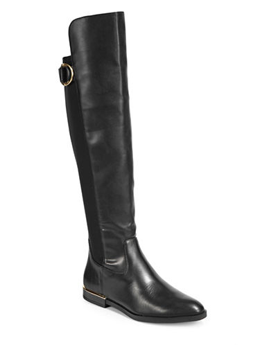 Calvin Klein Priscila Leather Knee-High Riding Boots-BLACK-9.5