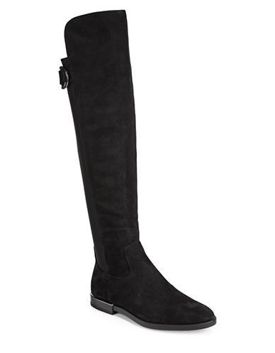 Calvin Klein Priscila Suede Knee-High Riding Boots-BLACK-7