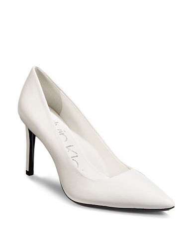 Calvin Klein Ronna Point Toe Pumps-WHITE-7.5