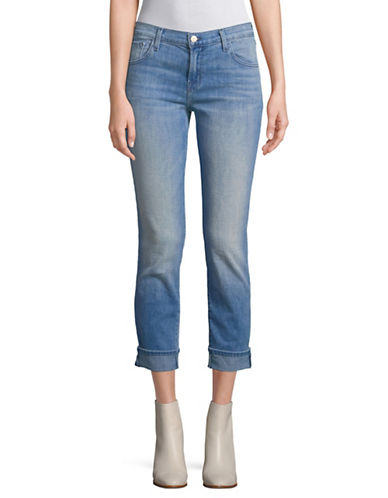 J Brand Johnny Mid-Rise Boyfriend Fit Jeans-LIGHT BLUE-27