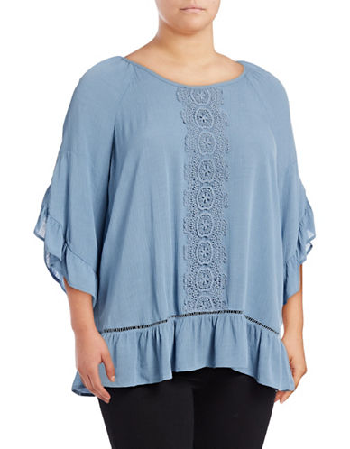 Style And Co. Plus Crochet Front Ruffle Sleeve Top-BLUE-2X