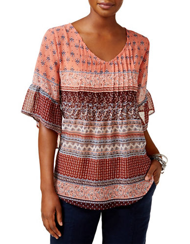 Style And Co. Petite Mixed-Print Pintuck Pleated Blouse-SALOON-Petite Small