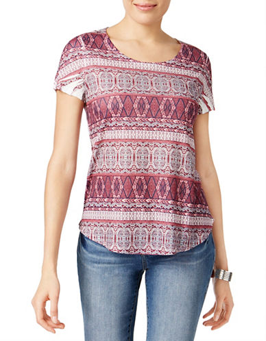 Style And Co. Mixed-Print Tee-PURPLE MULTI-Large