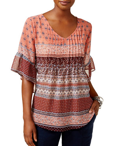 Style And Co. Pintuck Pleated Peasant Top-MULTI-Small