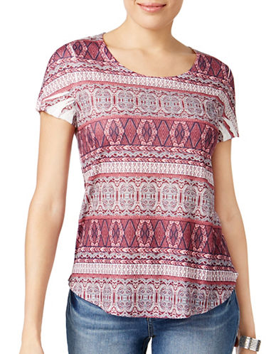 Style And Co. Petite Mixed-Print Tee-PAISLEY-Petite Large