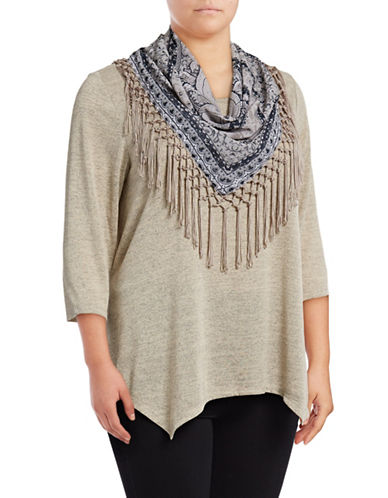 Style And Co. Plus Marled Tee with Scarf-HEATHER-1X