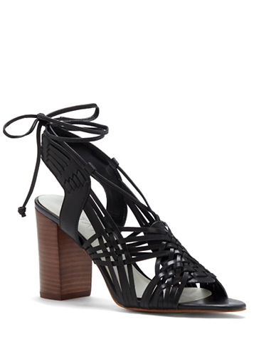 1 State Shanne Woven Leather Block Heel Sandals-BLACK-7.5