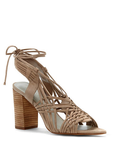 1 State Shanne Woven Leather Block Heel Sandals-GREY-8.5