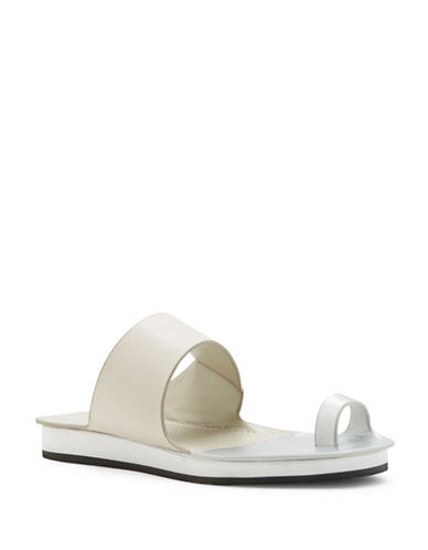 1 State Dilan Leather Slide Sandals-SILVER-8.5