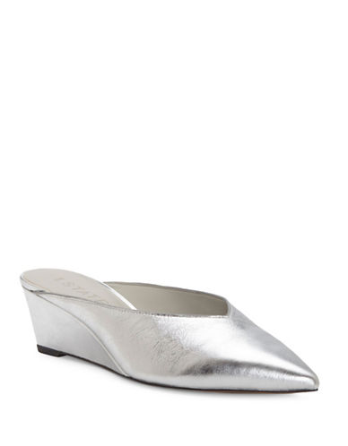 1 State Leanne Leather Wedge Mules-SILVER-6.5