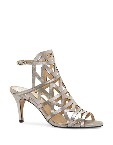Vince Camuto Prisintha Metallic Leather Suede Sandals-GREY-7