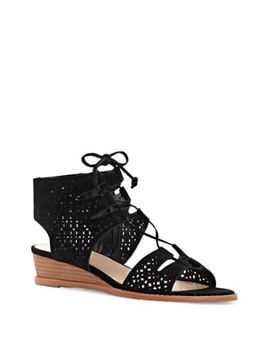 Vince Camuto Retana Suede Wedge Sandals-BLACK-10