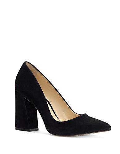 Vince Camuto Point Toe Suede Pumps-BLACK SUEDE-7.5