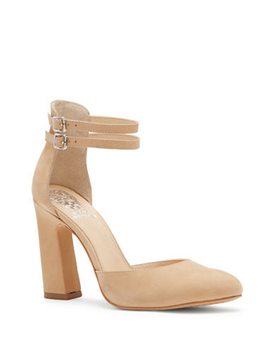 Vince Camuto Dorinda Warp Leather Closed Toe Pumps-NUDE-9