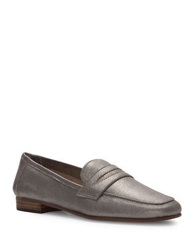 Vince Camuto Womens Elroy Leather Penny Loafers-GUNMETAL-5