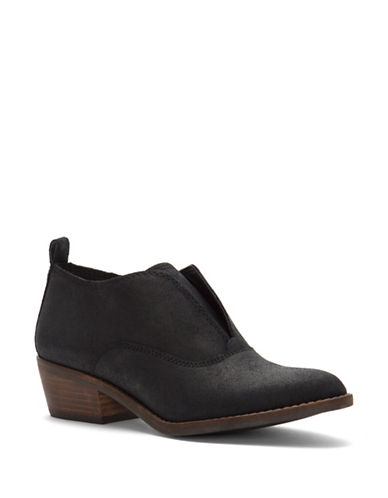 Lucky Brand Fimberly Block Heel Leather Booties-BLACK-7