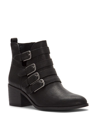 Lucky Brand Loreniah Block Heel Leather Booties-BLACK-5.5