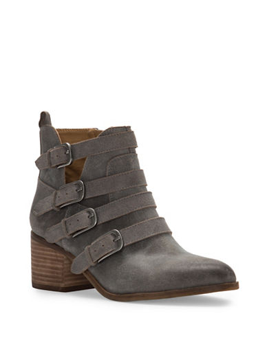 Lucky Brand Loreniah Block Heel Leather Booties-GREY-8