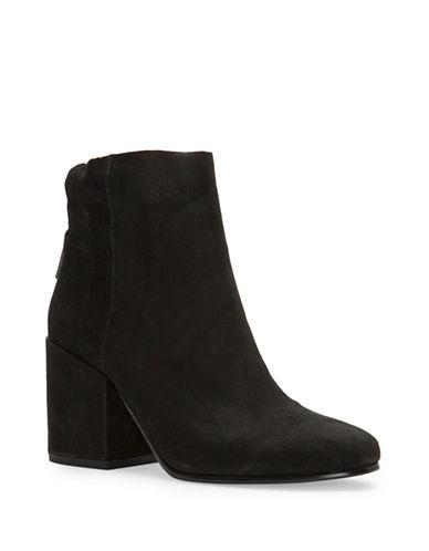 Lucky Brand Ravynn Block Heel Suede Booties-BLACK-8