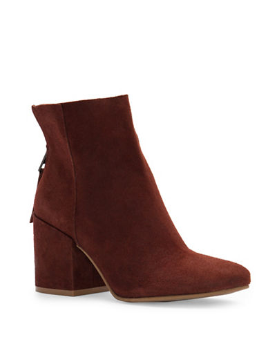 Lucky Brand Ravynn Block Heel Suede Booties-BROWN-5.5