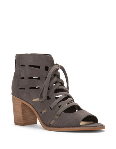 Vince Camuto Tressa Suede Lace-Up Sandals-GREY SUDE-8