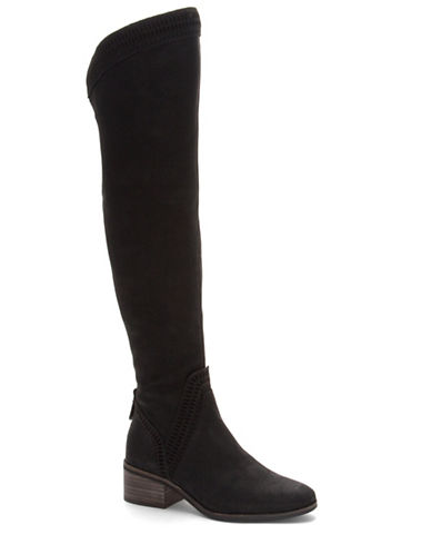 Vince Camuto Kindra Suede Boots-BLACK-7.5