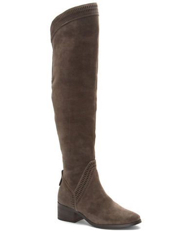 Vince Camuto Kindra Suede Boots-OLIVE-5