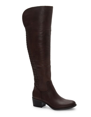 Vince Camuto Brilley Wide Calf Leather Boots-BROWN-7