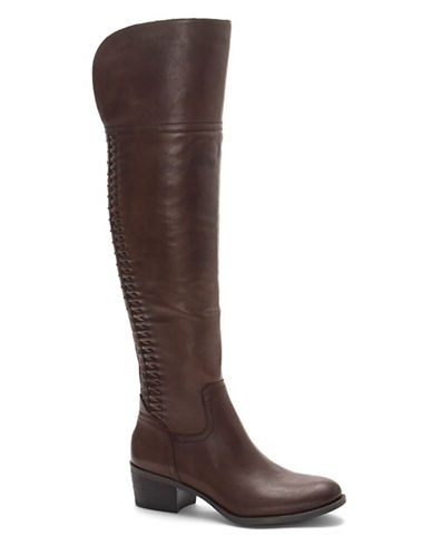 Vince Camuto Brilley Leather Riding Boots-BROWN-10