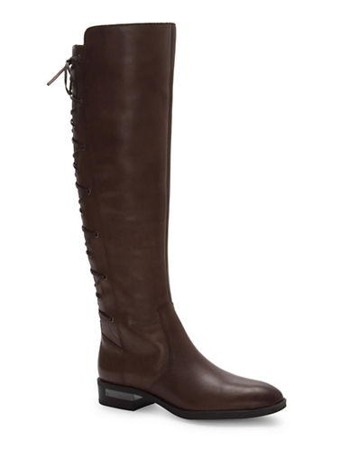 Vince Camuto Palenda Leather Knee-High Boots-BROWN-7.5